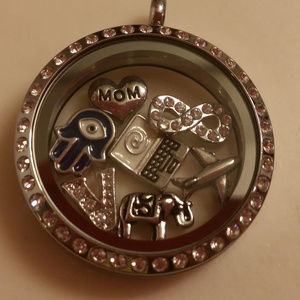 Origami Owl Large Silver Locket with crystals